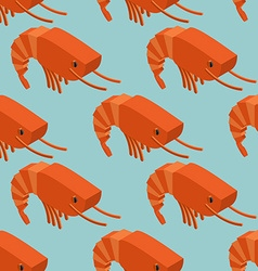 Shrimp isometric seamless pattern marine plankton vector