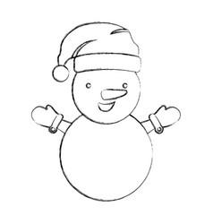 silhouette blurred cartoon snowman christmas vector image