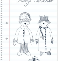 sketch with santa claus and snow maiden vector image