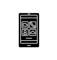 smartphone apps black icon sign on vector image
