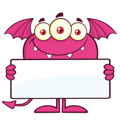 smiling pink monster cartoon character vector image