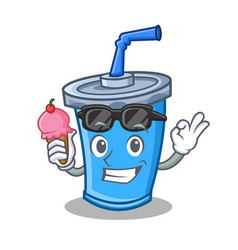 Soda drink character cartoon with ice cream vector