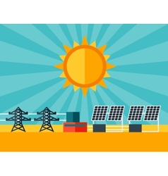 Solar energy power plant in flat style vector