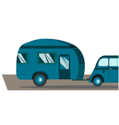 travel in a house on wheels blue retro car with vector image