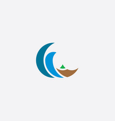 tsunami water wave logo icon symbol element vector image