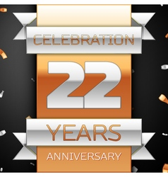 Twenty two years anniversary celebration golden vector