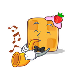 Waffle character cartoon design with trumpet vector