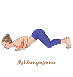 Women silhouette eight-limbed yoga pose vector