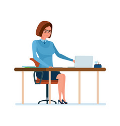 Young teacher at her desk working at laptop with vector
