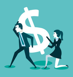 business man and woman with dollar sign vector image