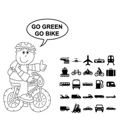GRAPHICS BLACK TRANSPORT CYCLIST vector image vector image