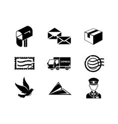 Post service black icon set vector image vector image
