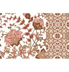 Set of floral seamless background and border with vector image