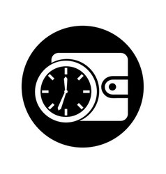 time clock with wallet isolated icon vector image