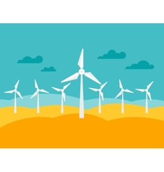 wind energy power plant in flat style vector image vector image