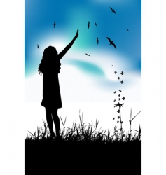 girl in meadow vector image