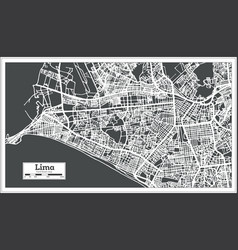 lima peru city map in retro style outline map vector image vector image