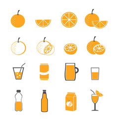 orange and juice icons set vector image vector image