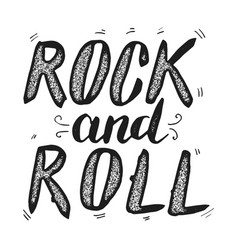 rock and roll hand drawn lettering phrase vector image vector image