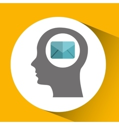 silhouette head with email message communication vector image