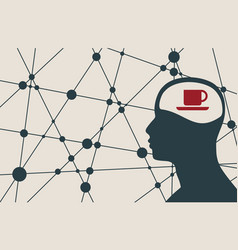 Silhouette of a man head with cup vector