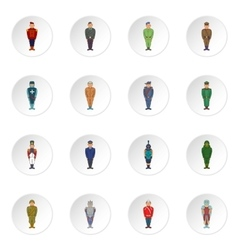 Soldiers in uniform icons cartoon style vector image