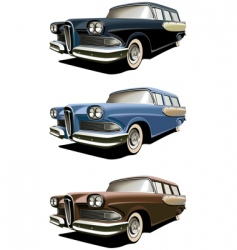 vintage station-wagons vector image vector image