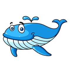 Cartoon whale with a water spout vector image vector image