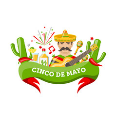 cinco de mayo banner with mexican symbols and vector image