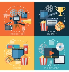 Flat design concepts for cinema movie production vector image vector image