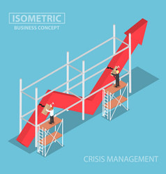 isometric businessman trying to fix broken graph vector image
