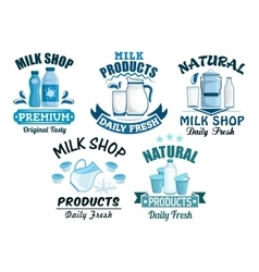 Milk and dairy products isolated icons vector image