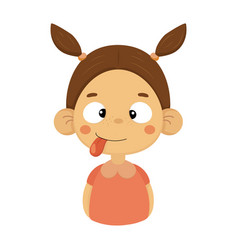 silly and joking little girl flat cartoon portrait vector image vector image