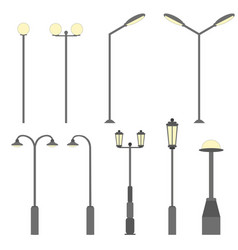 street light silhouette flat road lamp symbol vector image