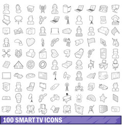 100 smart tv icons set outline style vector image vector image