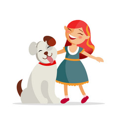 cute girl with a dog are smiling and hugging vector image vector image