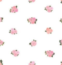 cute seamless texture with tiny roses on white vector image