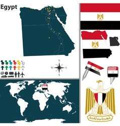 Egypt map world vector image vector image