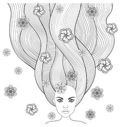 Hand drawn girl like forest fairy with long hair vector image