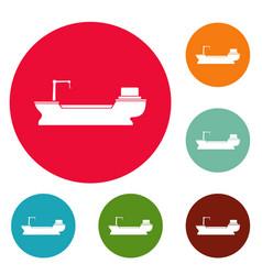 ship freight icons circle set vector image