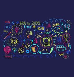 vibrant colors school education sheme vector image