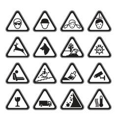 Warning safety signs set black vector