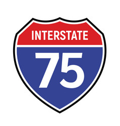 75 route sign icon road 75 highway vector