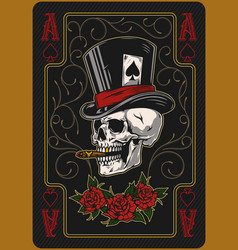 Ace spades playing card template vector