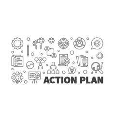 Action plan horizontal banner in thin line vector
