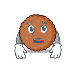 Afraid chocolate biscuit mascot cartoon vector