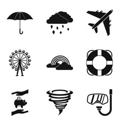 Bad stay icons set simple style vector