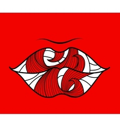 Banner with lips on a red background vector
