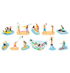 beach activities summertime people hob vector image