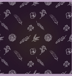 beautiful feathers flowers and leaves on a deep vector image